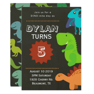 Dinosaur 5th Birthday Party Invitation
