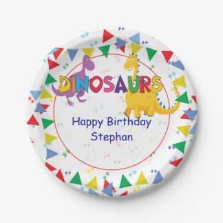 Dinosaur and Knight Birthday party Plates