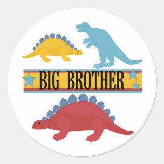 Dinosaur Big Brother Classic Round Sticker
