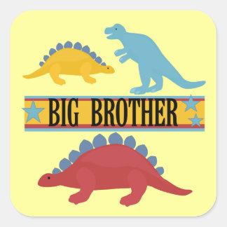 Dinosaur Big Brother Square Stickers