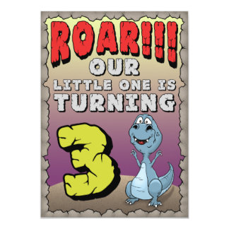 Dinosaur Birthday Invitation 3 Year Old