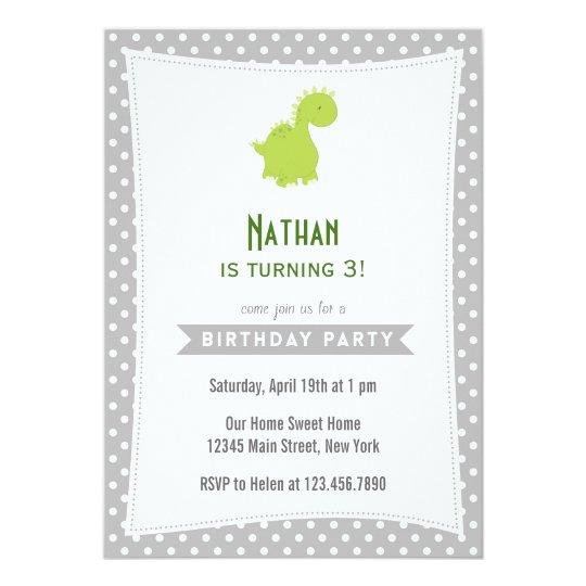 Dinosaur Birthday Invitation Green