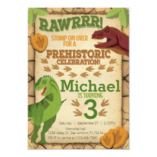 Dinosaur Birthday Invitation, T-Rex Invitation