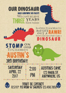 dinosaur birthday invitations announcements zazzle ca