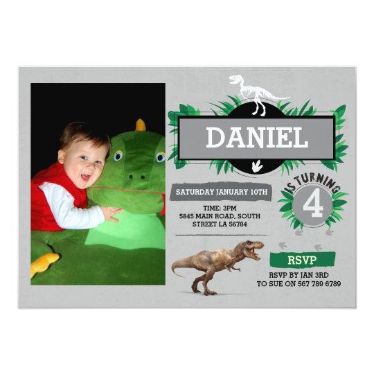 Dinosaur Birthday Party Dino Dig Trex Photo Invite