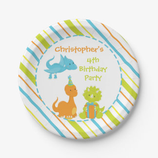 Dinosaur Birthday Party Dino Personalized Plate 7 Inch Paper Plate