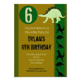 Dinosaur Birthday Party Invitations Earth Tones