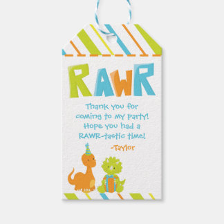 Dinosaur Birthday Party Personalized Favour Tag Pack Of Gift Tags