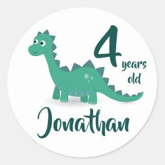 Dinosaur birthday personalized stickers. classic round sticker