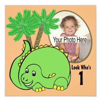"Dinosaur Birthday Photo 5.25"" Square Invitation Card"