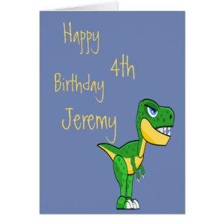 Dinosaur Blue Cute Boys Age Birthday Card
