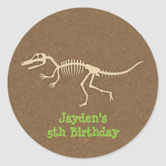 Dinosaur Bones Kids Birthday Party Labels
