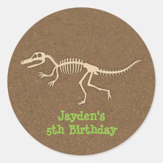 Dinosaur Bones Kids Birthday Party Labels Round Sticker