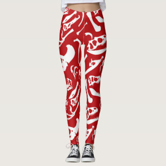 Dinosaur Bones (Red) Leggings