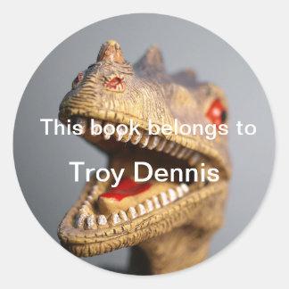 Dinosaur bookplate classic round sticker