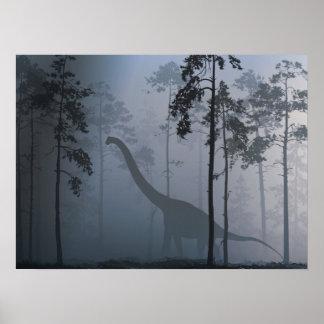 Dinosaur by Moonlight Poster