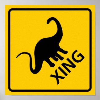 Dinosaur Crossing Highway Sign