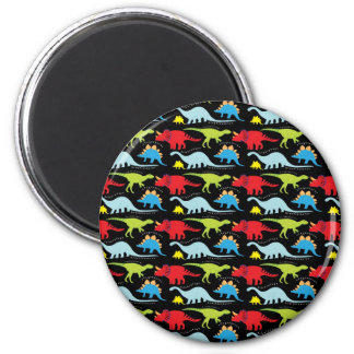 Dinosaur Designs Blue Red Green on Black 2 Inch Round Magnet