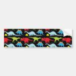 Dinosaur Designs Blue Red Green on Black Bumper Stickers