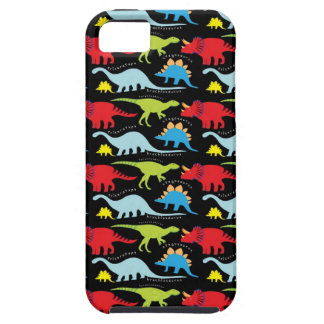 Dinosaur Designs Blue Red Green on Black Case For The iPhone 5