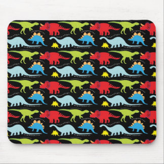 Dinosaur Designs Blue Red Green on Black Mouse Pad