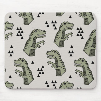 Dinosaur Dino T-Rex Green Grey Boy / Andrea Lauren Mouse Pad