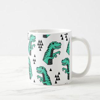 Dinosaur Dino T-Rex Green Tri Boy / Andrea Lauren Coffee Mug