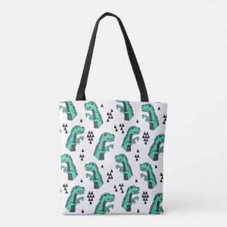 Dinosaur Dino T-Rex Green Tri Boy / Andrea Lauren Tote Bag