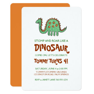 Dinosaur Doodle, Boy's Birthday Party Card