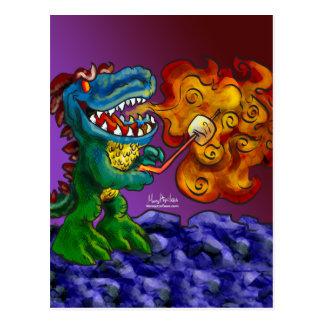 Dinosaur Dragon Cooking Marshmallows With Breath Postcard