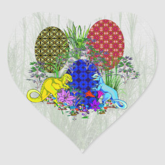 Dinosaur Easter Eggs Heart Sticker