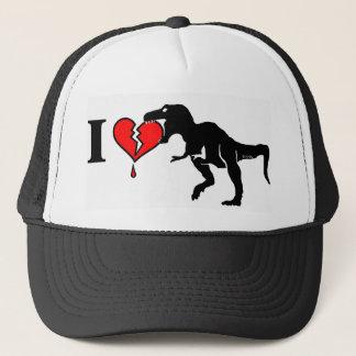 Dinosaur eat heart trucker hat