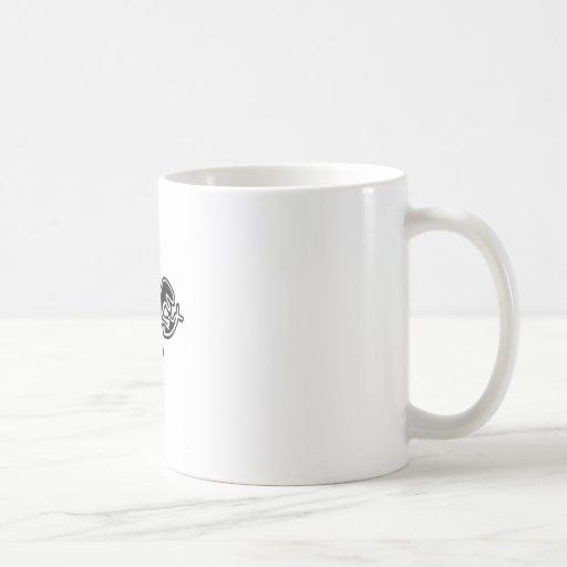 dinosaur eating jesus fish coffee mug