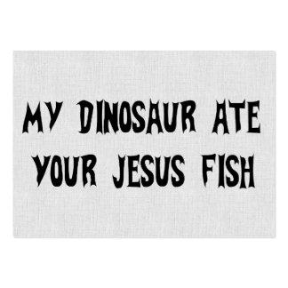 Dinosaur Eats Jesus Fish Large Business Card