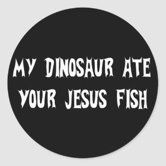 Dinosaur Eats Jesus Fish Round Sticker
