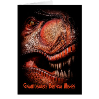 Dinosaur Emerging Out Of The Darkness Birthday Wis Card