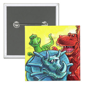 Dinosaur Friends 2 Inch Square Button