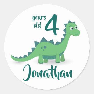 Dinosaur green birthday personalized sticker
