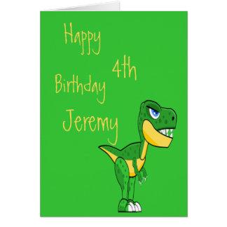 Dinosaur Green Cute Boys Age Birthday Card
