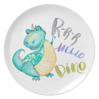Dinosaur Illustration Plate