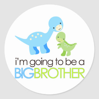 Dinosaur I'm Going to Be A Big Brother Round Sticker