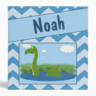 Dinosaur in Pond With Chevron Background Binder