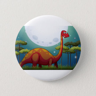 Dinosaur in the field at night 2 inch round button