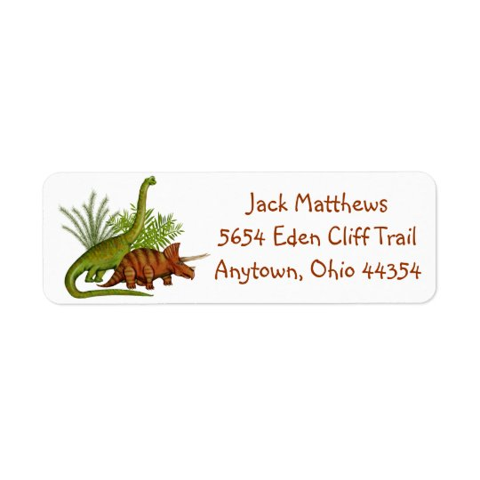 Dinosaur Jurassic Jungle Return Address Labels