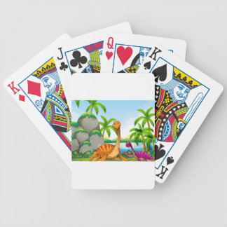 Dinosaur living in the jungle bicycle playing cards