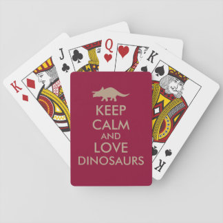 Dinosaur Lover Gift Keep Calm Triceratops Custom Playing Cards