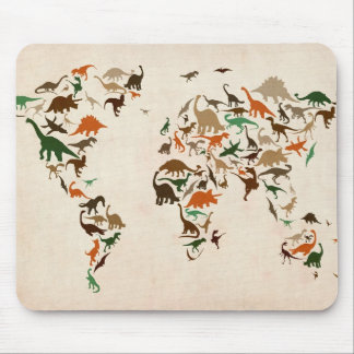 Dinosaur Map of the World Map Mouse Pad