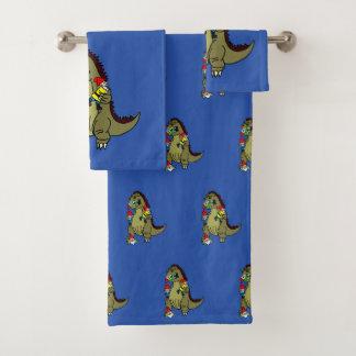 Dinosaur Monster Eating Gnomes Bath Towel Set