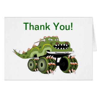 Dinosaur Monster Truck Thank You Card