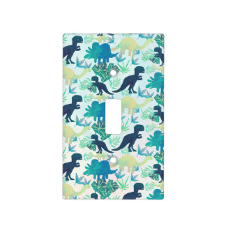 Dinosaur Navy Blue Green Teal  Light Switch Cover